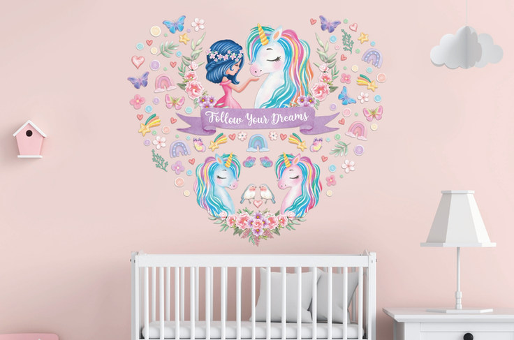 Unicorn Wall Decals For Girls Room Nursery with Follow Your Dreams Inspirational Quote on Pink Walls