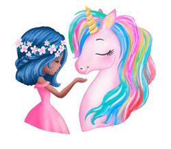 black girl with pink unicorn