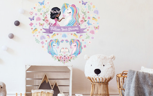 Unicorn Wall Decorations For Black Girls Playroom with Follow Your Dreams Inspirational Quote on Cream Walls