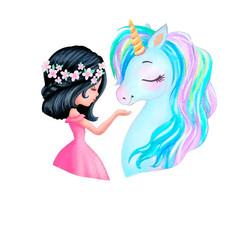 fair girl with blue unicorn