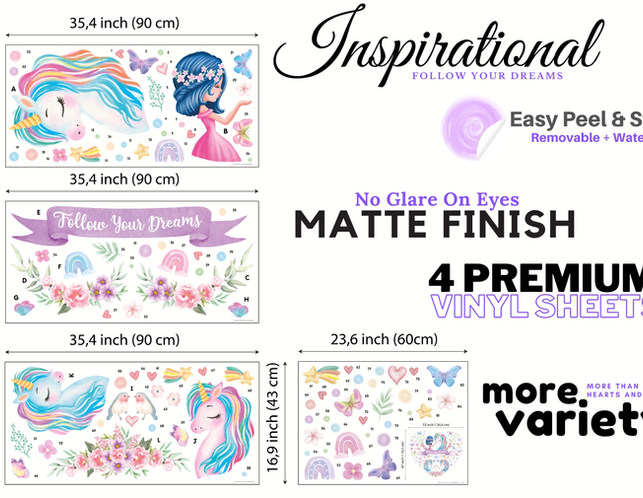 What You Will Receive: 4 X  easy Peel & Stick Wall Decals Sticker Sheets