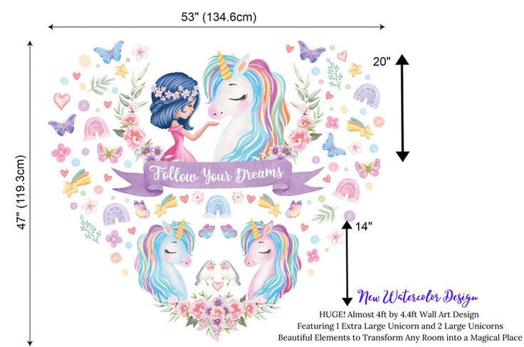Large Unicorn Wall Decals For Girls Bedroom | Unicorn Wall Art Murals in Heart Shape Design with Inspirational Quote