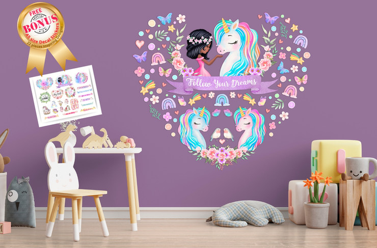 Unicorn Wall Decals For Black Girls Playroom with Follow Your Dreams Inspirational Quote on Purple Walls