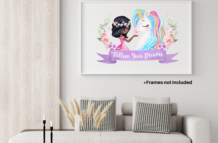 Unicorn Wall Decorations For Black Girls Room with Framed Wall Art Decoration