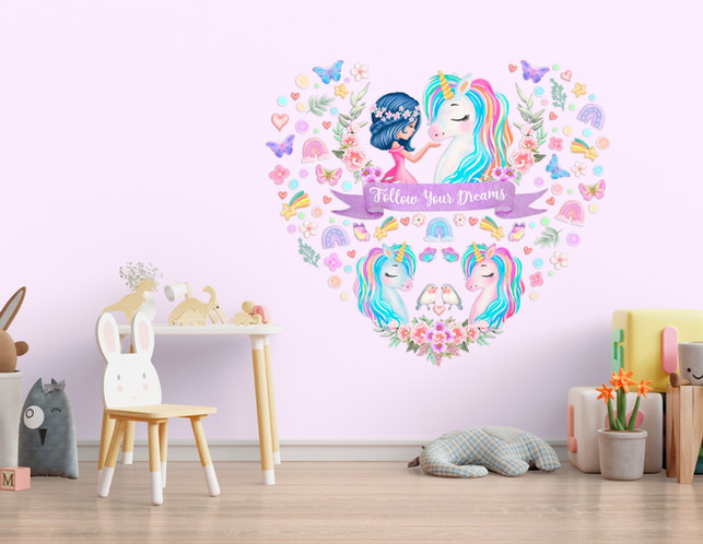 Unicorn Wall Decorations For Girls Playroom with Follow Your Dreams Inspirational Quote on Pink Walls