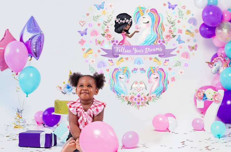 Large Unicorn Wall Decals for Black Girls Birthday Party with Follow Your Dreams Inspirational Quote