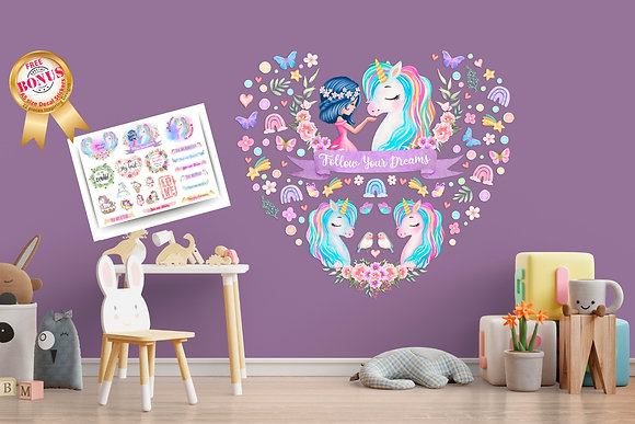 Follow Your Dreams Unicorn Wall Decals For Girls Bedroom
