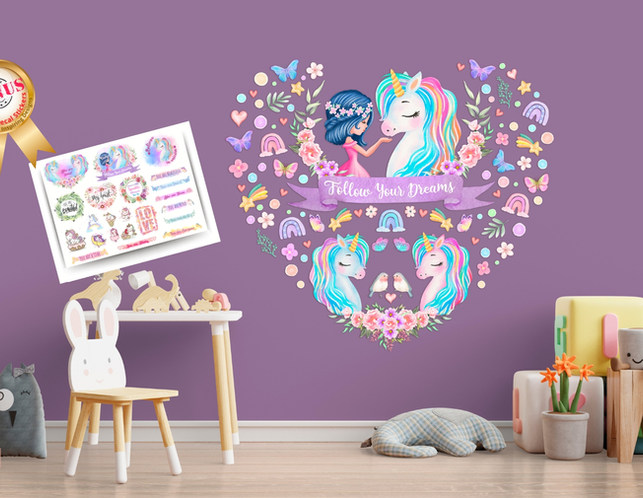 Unicorn Wall Decals For Girls Playroom with Follow Your Dreams Inspirational Quote on Purple Walls
