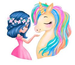 fair girl with golden unicorn