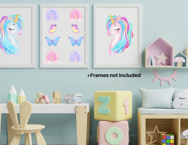 Unicorn Wall Decorations For Girls Bedroom with Framed Wall Art Decoration on Turquoise Walls