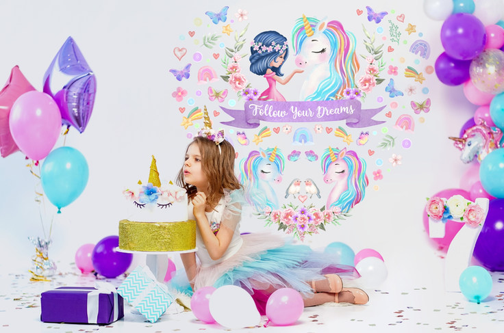 Large Unicorn Wall Decals for Girls Birthday Party with Follow Your Dreams Inspirational Quote