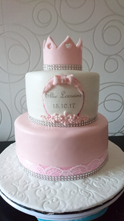 Two Tier Naming Day Cake