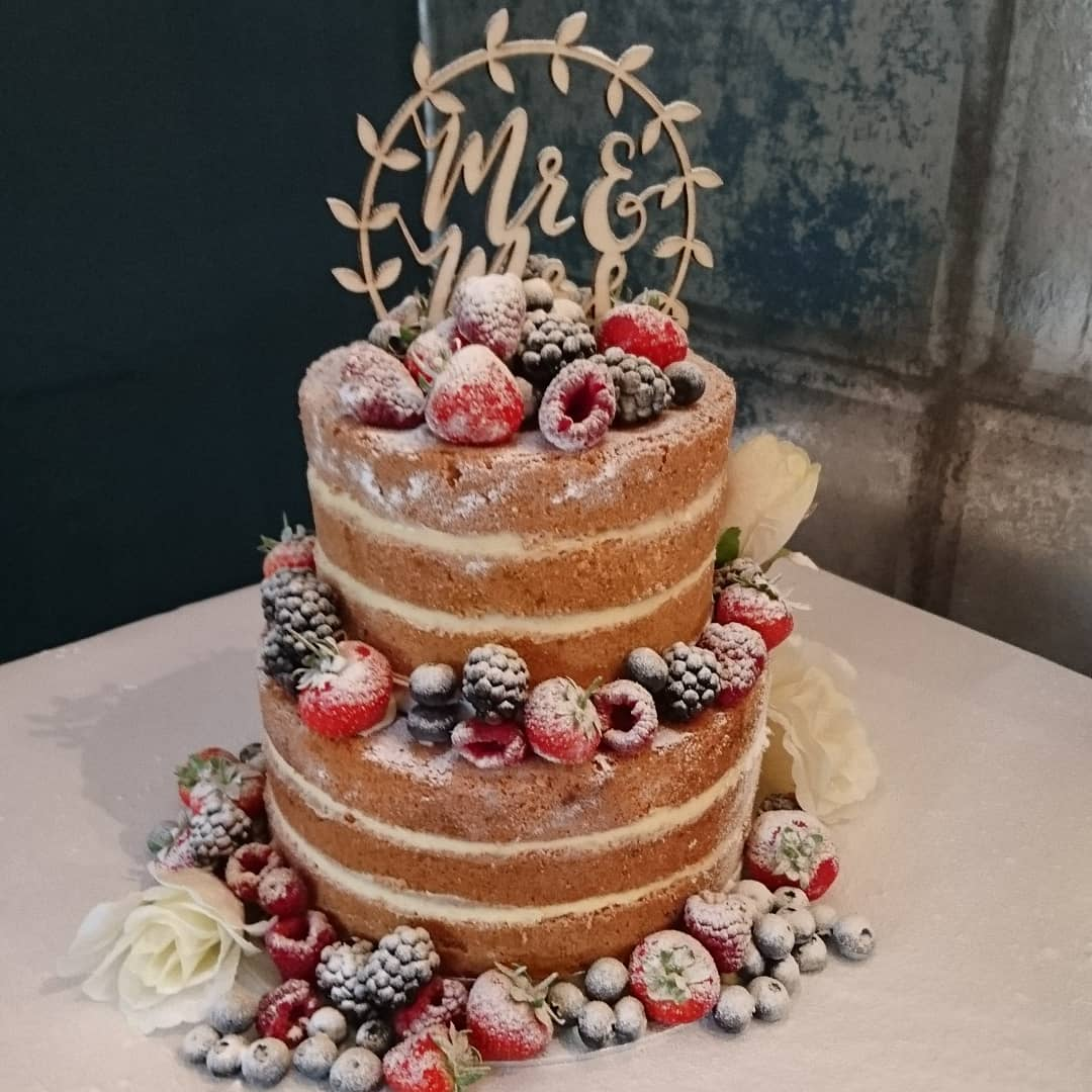 Two Tier Naked Wedding Cake