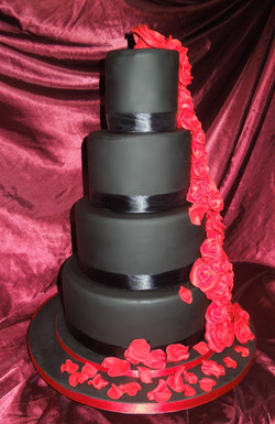 Four Tier Black Wedding Cake