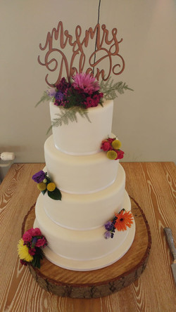Four Tier Plain Wedding Cake