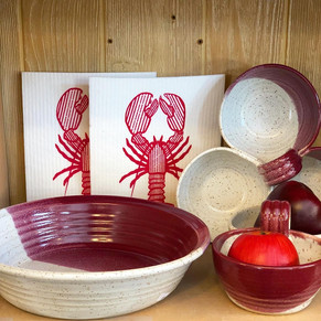 Merlot Dipped Pie Plate/dish and condiment dishes