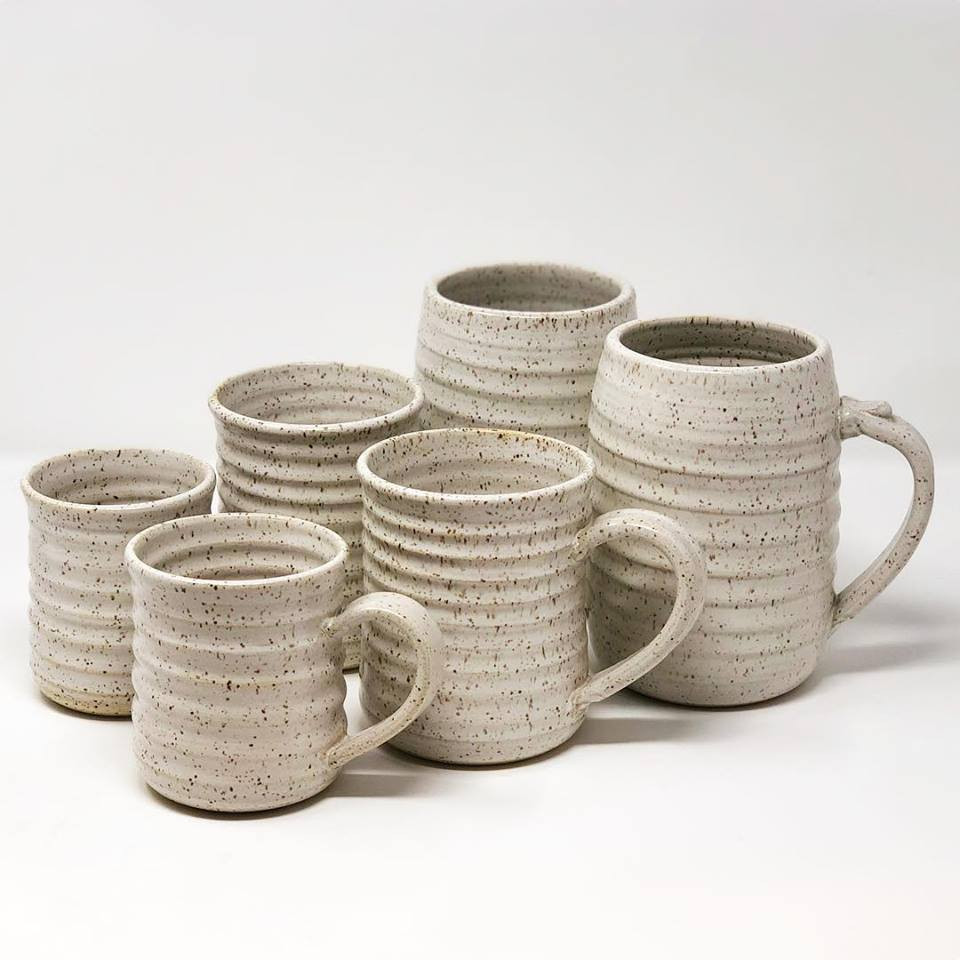 Our 3 mug sizes: Regular, Large, Beer in Oatmeal Glaze