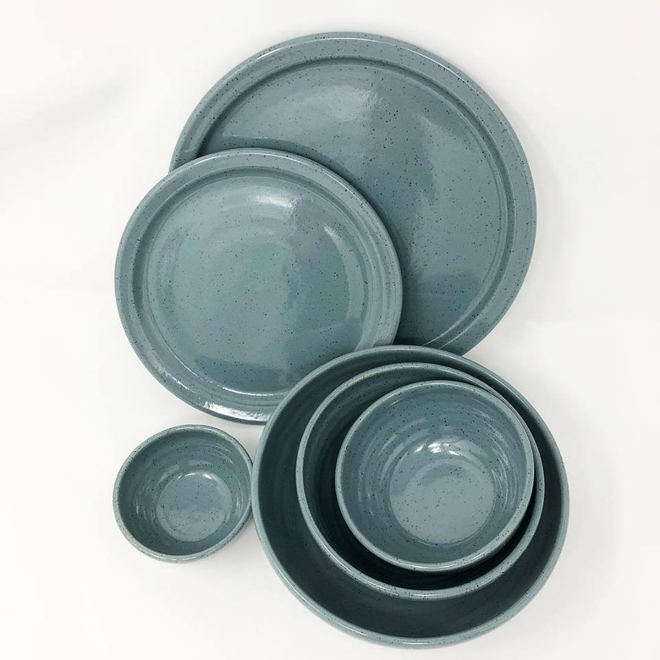 Slate Blue Plates and Bowls
