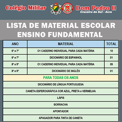 Lista de material escolar - Fundamental.