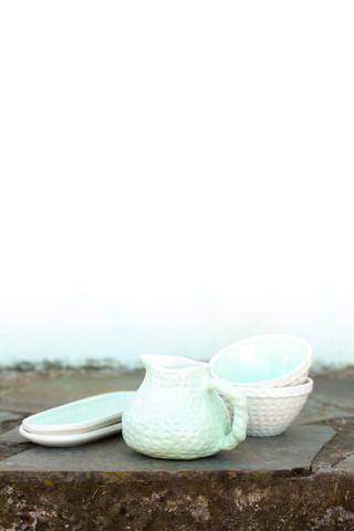 jarro, travessa e taça verde água