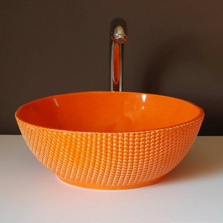 lavatório favos laranja