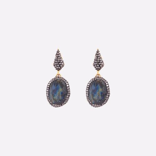 SAPHIRE | Bronz Kristal Kesim Safir Küpe
