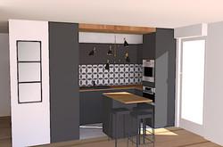 3D cuisine ouverte en U