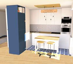 3D cuisine ouverte en L