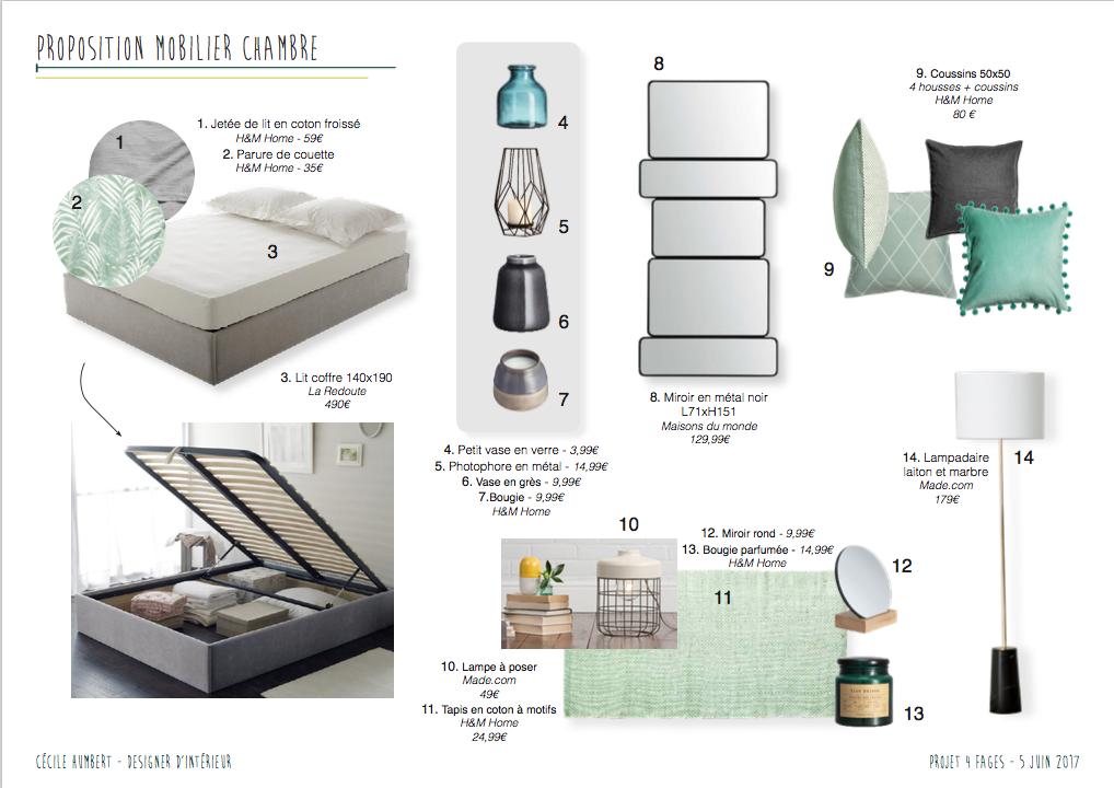 Planche mobilier chambre
