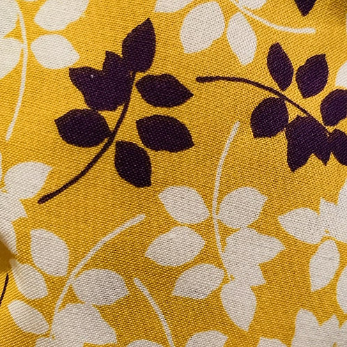 Purple and White Floral on Yellow