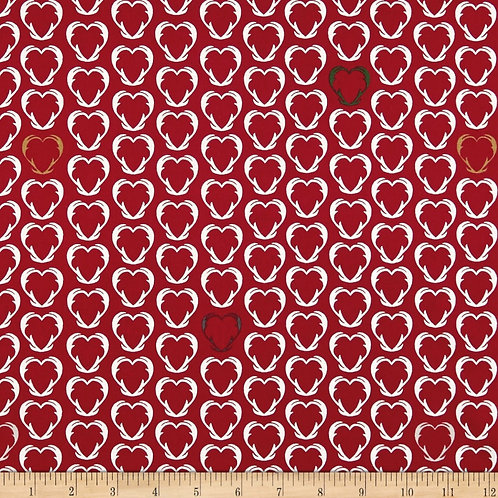 Stof Fabrics Denmark Snow House Outlined Hearts Red