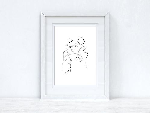 Line Work Woman Cuppa Simple Home Bedroom Dressing Room Wall Decor Print