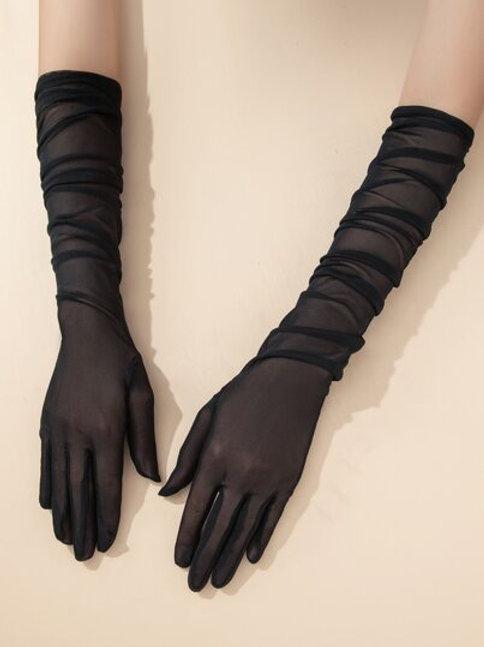 Long Black Mesh Gloves