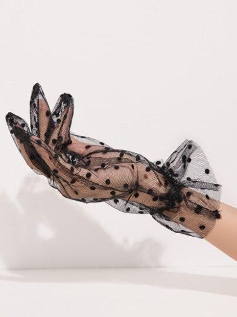 Black Polka Dot Gloves