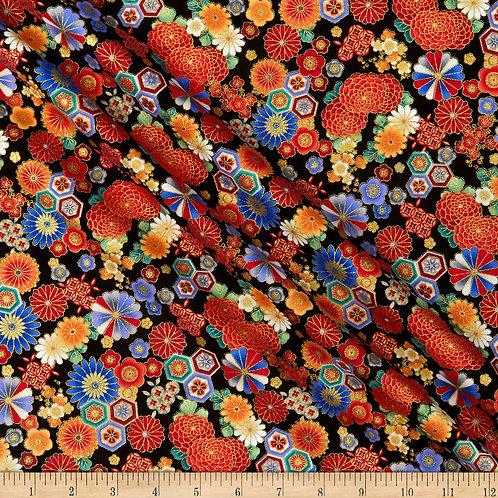 Timeless Treasures Metallic Koko Floral Geo Black