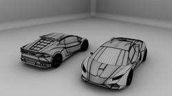 car Grayscale Wireframe