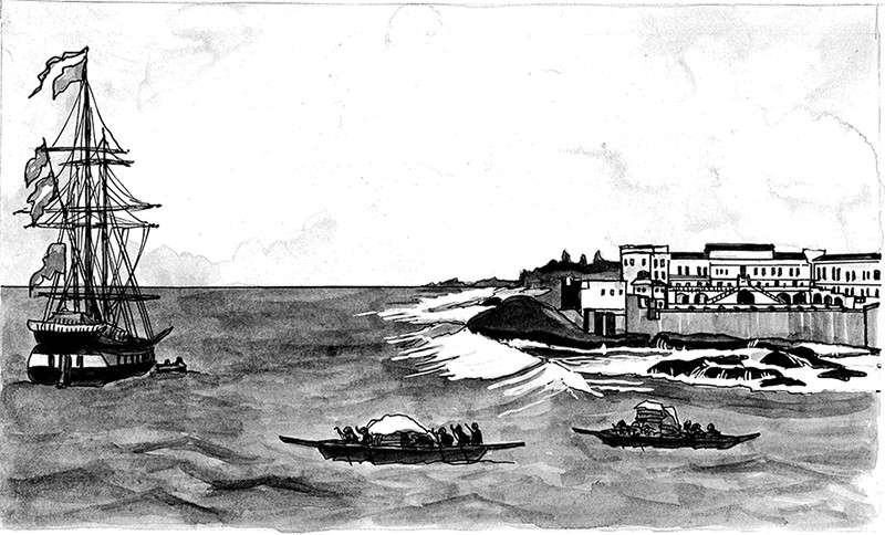 Fante canoeists loading a ship at Cape Coast Castle