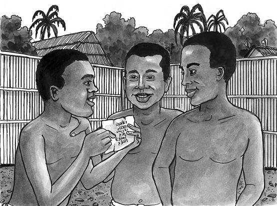 Kwame, Kwaku, and Baako reading Arabic