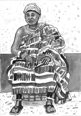 The Queen Mother in kente cloth