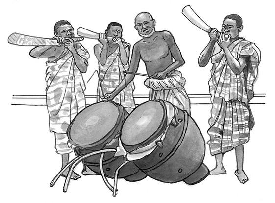 Talking drums and elephant tusk horns