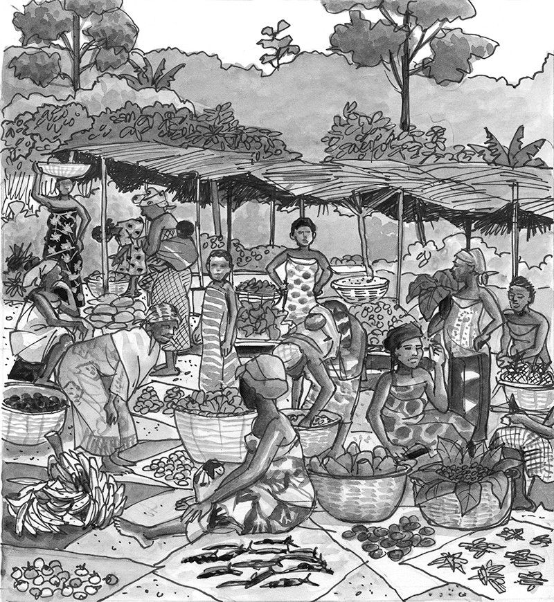 The marketplace in Tanoso