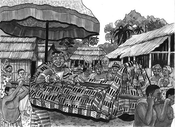 Borne in his palanquin under a colorful umbrella topped by a golden falcon, Nana celebrates the Odwira festival in Tanoso.