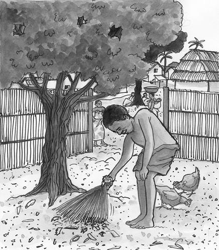 Yaw Mensah sweeping the family courtyard