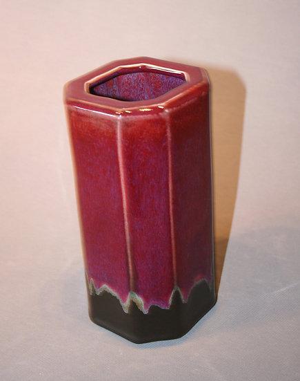 Faceted copper red vase