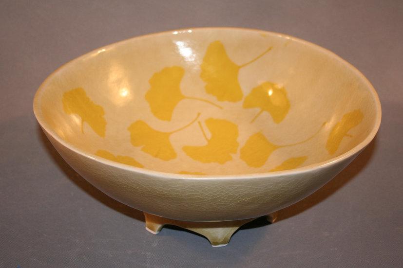 Large Gingko Bowl creamy background