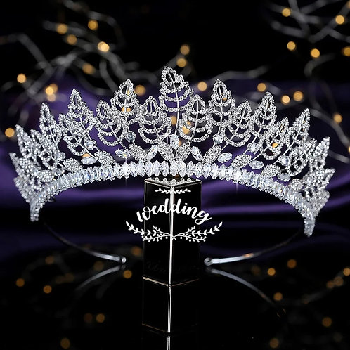 Beautiful Handmade Silver Bridal Tiara with Leaf detail.