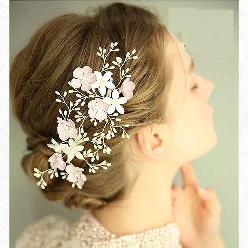 Pretty Pink & White Floral Bridal Clip