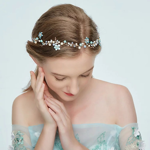 Lovely Gold and Blue Floral,Pearl Hairvine/ Headpiece