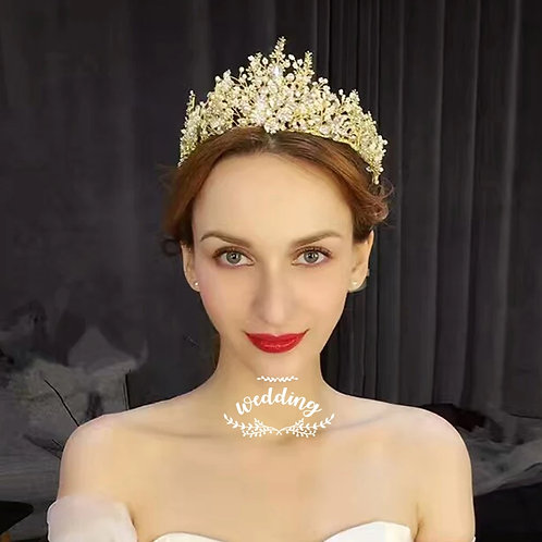 Stunning Gold Bridal Tiara with Exquisite Pearls & Crystals