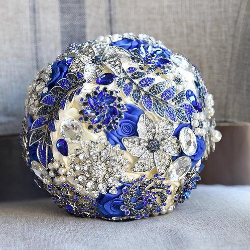 Beautiful Handmade Royal Blue & Ivory Crystal,Pearl Wedding Bouquet